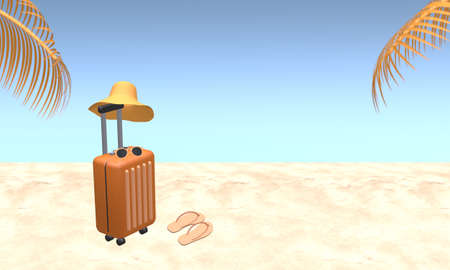 Orange suitcase with hat, sunglasses and slipper with palm tree leaves on beach.  Blue sky background in summer. Travel vacation holiday concept. 3d rendering illustration