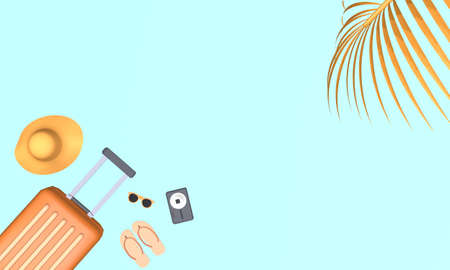 Orange suitcase with hat, sunglasses, slipper and camera with palm tree leaf on blue background. Travel vacation holiday concept. 3d rendering illustration Archivio Fotografico