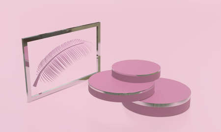 Round product stand display mock up in pink tone. Beauty and fashion concept. 3D render illustration Archivio Fotografico