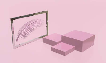 Square cube product stand display mock-up in pink tone. Beauty and fashion concept. 3D render illustration