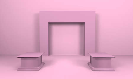 Product stand display mock up in pink tone. 3D render illustration