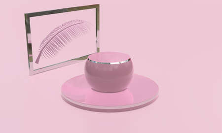 Round barrel product stand display mock up in pink tone. Beauty and fashion concept. 3D render illustration Archivio Fotografico