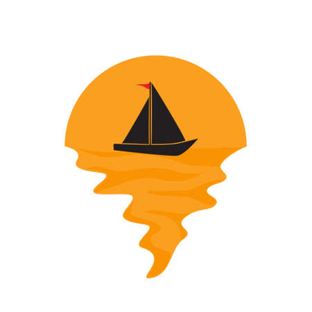 Vector of sailboat on sea and sunset in background. Sailing ship transportation company silhouette  illustration design Vettoriali