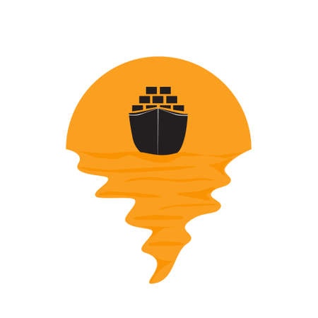 Vector of cargo ship container on sea and sunset in background. Freight transportation company silhouette  illustration design Vettoriali