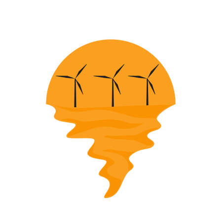 Vector of offshore wind farm on sea and sunset in background. Green energy industrial company silhouette  illustration design Vettoriali