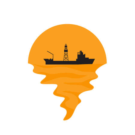 Vector of drillship on sea and sunset in background. Oil and gas company silhouette  illustration design