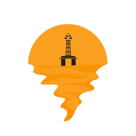 Vector of offshore oil platform on sea and sunset in background. Oil and gas company silhouette  illustration design