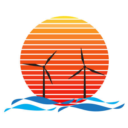 Vector of offshore wind farm on sea and sunset in background. Green energy industrial company silhouette illustration design Vektorové ilustrace