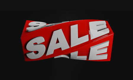 Sale text on red twist rectangular shape on black background. 3D rendering image