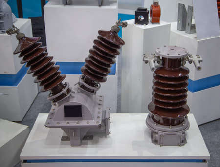 Close-up of high voltage and current transformer 写真素材