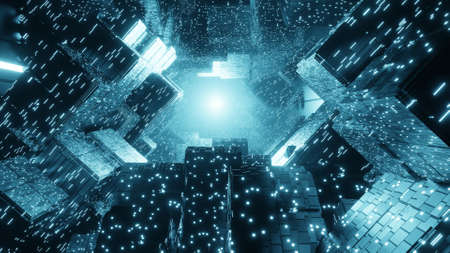 Abstract creative sci-fi building background. Futuristic technology background. 3D rendering image