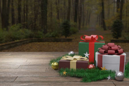 Christmas presents on wooden floor. Gift boxes with decor and copy space. Forest landscape background. 3D rendering image