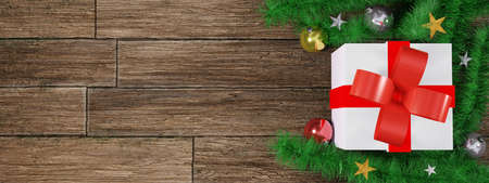 Christmas present on wooden floor. Gift box and decor with copy space background. 3D rendering image