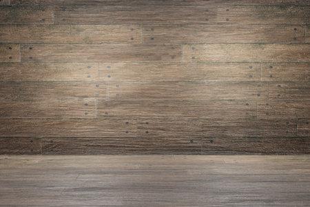 Brown wood plank panels and floor. Empty interior design. Old rustic wood texture background Stock fotó