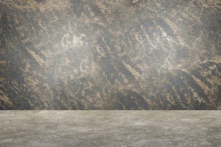 Dark concrete wall and floor. Empty interior design. Old grungy texture background