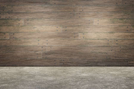Brown wood plank panels and concrete floor. Empty interior design. Old rustic wood texture background