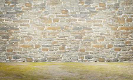 Old medieval castle wall. Exterior of medieval defensive wall. Old stone wall texture background