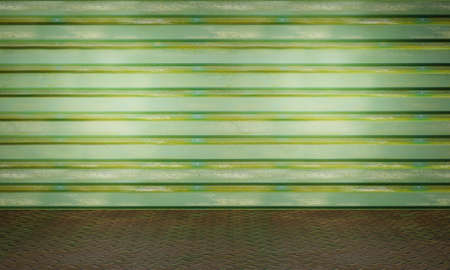 Old green factory metal wall and chequer plate floor. Empty template industrial design. Old grungy texture background