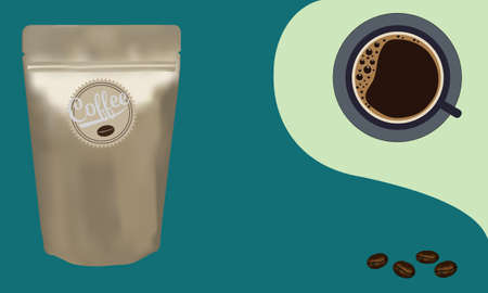 Gold packaging aluminum foil zipper coffee beans pouch bag with a cup of coffee on green background. Vector illustration product template design. Illusztráció