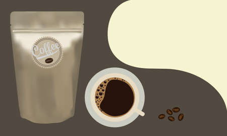 Gold packaging aluminum foil zipper coffee beans pouch bag with a cup of coffee on brown background. Vector illustration product template design.