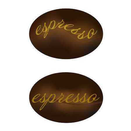 Coffee bean logo on white background. Espresso text label on brown coffee bean. Vector illustration creative design