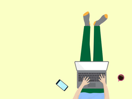 Work at home, study at home, stay at home concept. Top view of freelancer working online at home with laptop computer. Vector illustration design