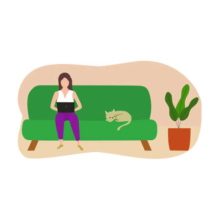 Freelancer woman working remotely with computer laptop at home. Vector and illustration design.