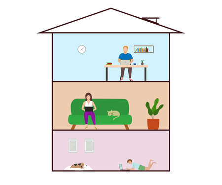Freelancer man and woman working remotely with computer laptop at home. Child study at home. Vector and illustration design.