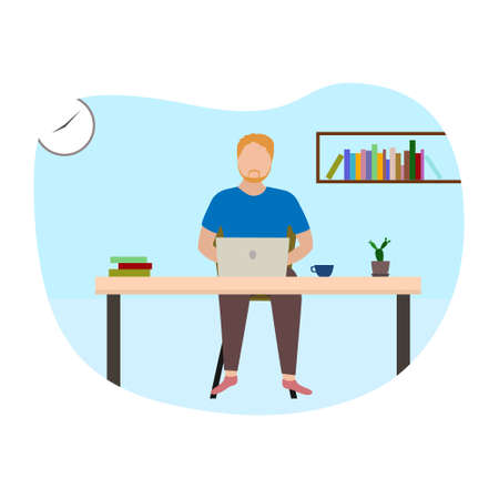 Freelancer man working remotely with computer laptop at home. Vector and illustration design.