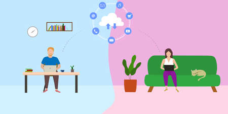 Vector of people using laptop work remotely from home. Illustration concept online cloud technology. Illusztráció