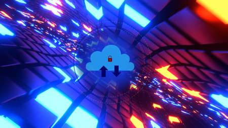 Cloud security technology concept. Data storage. Internet and networking. 3D rendering image Stock fotó