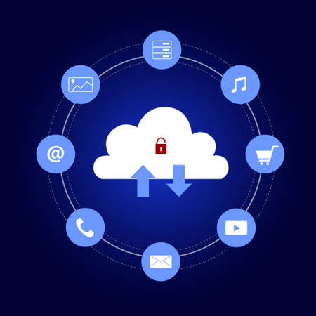 Cloud security technology concept. Data storage. Internet and networking. Vector and illustration design.