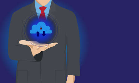 Cloud security technology concept. Businessman or information technologist with cloud computing icon on hand. Vector and illustration design.