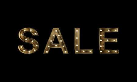 Vintage style SALE text sign. Retro banner template with light bulb glowing. 3D rendering image