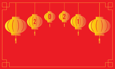 Chinese new year 2021 decoration. Lunar year template with gold lanterns on red background. Vector and illustration design Illusztráció