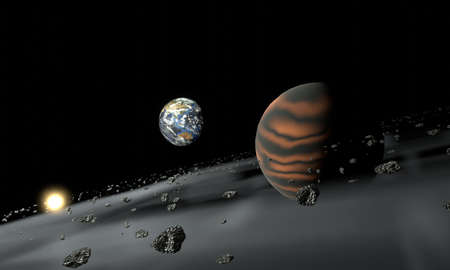 View of Earth and ring planet surrounded with rock and dust. Outer space background. 3D rendering image