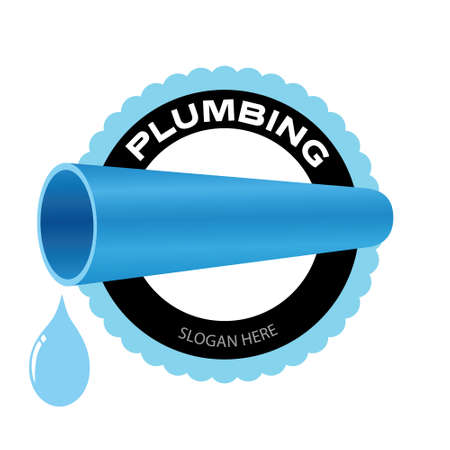 Plumbing company. Water pipe with a water drop symbol on white background. Vector illustration badge design. Illusztráció