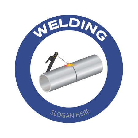 Welding company . Welding torch and tube with spark on white background. Vector illustration construction badge design.
