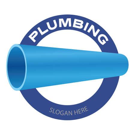Plumbing company. Water pipe symbol on white background. Vector illustration badge design. Illusztráció