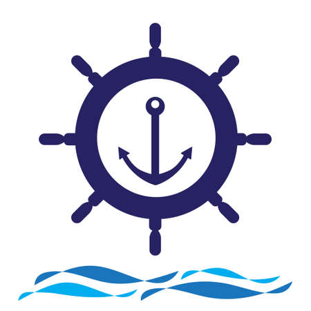 Nautical navy cruise sign. Ship steering wheel with anchor and wave vector  design.