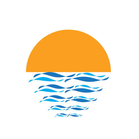 Sun  with blue waves. Sunset creative icon. Vector illustration design.