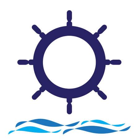 Nautical navy cruise sign. Ship steering wheel and wave vector  design. Illusztráció