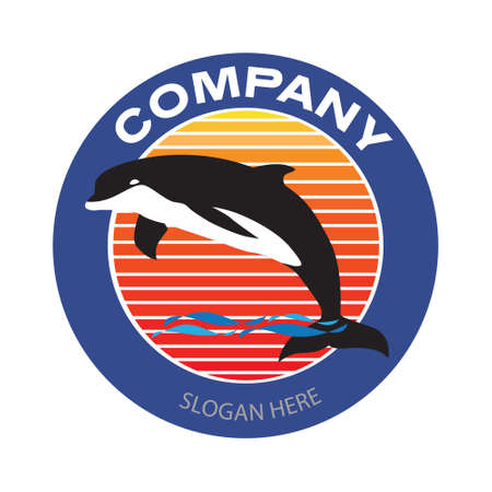 Diving jumping dolphin with sunset background logo. Vintage or retro style vector and illustration for business or sport club badge design elements. Illusztráció