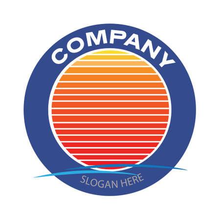 Vintage business banner template design. Retro Emblem logo Design. Gradient sunset with sea wave in circle. Vector illustration design