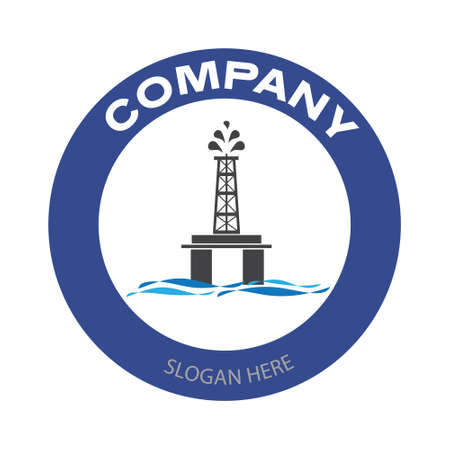 Drilling rig company logo. Offshore oil platform badge in circle. Oil and gas industry vector illustration design