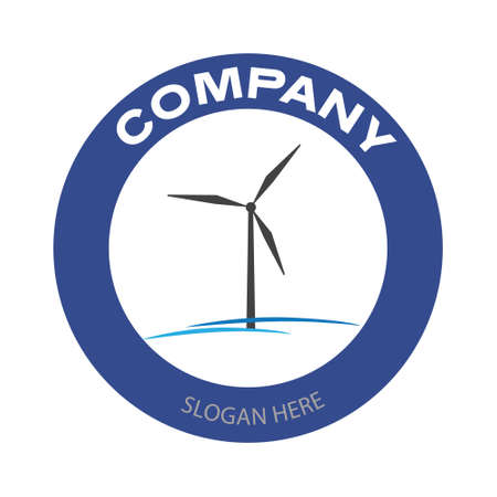 Wind turbine for company logo. Alternative and renewable energy business badge in circle. Vector illustration design