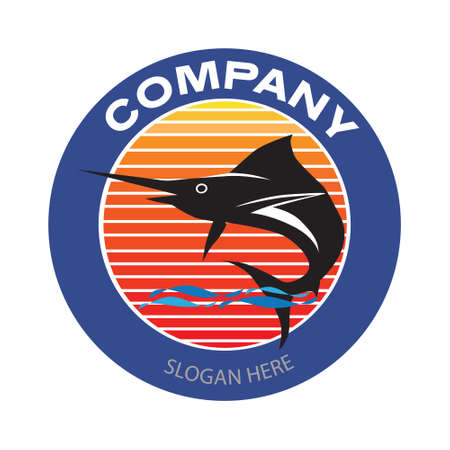 Blue Marlin with sunset background logo. Sword fish fishing emblem for business and sport club. Vintage or retro style vector and illustration badge design elements. Illusztráció