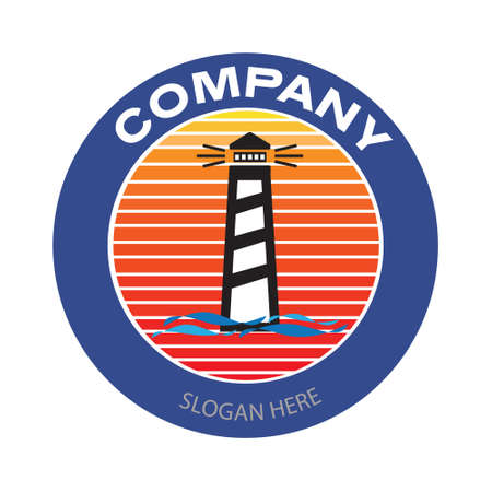 Lighthouse coastal beach business logo. Vintage or retro style company badge in circle. Vector illustration design Illusztráció