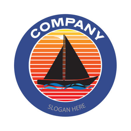Sailing boat with sunset background logo. Vintage or retro style vector and illustration for travel business or yacht club badge design elements. Illusztráció