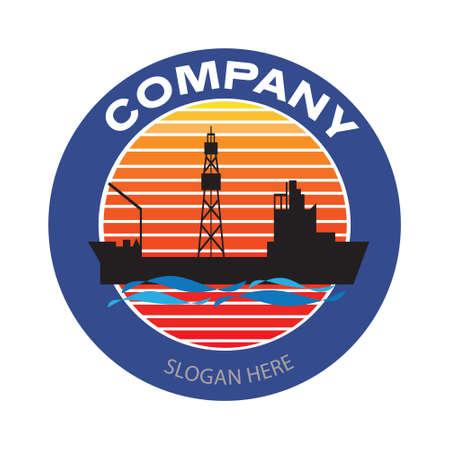 Drilling ship company logo. Oil platform cargo ship badge in circle. Oil and gas industry vector illustration design Illusztráció